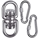 SELEWARE Permanent Antirust Stainless Steel Bearing Swing Swivel w/ 2 Carabiners, 1200LB 360° Rotational Device Hanging Accessory for Tree Swing, Hammock Chair, Climbing Rope, Yoga, Kids Swing Swivel