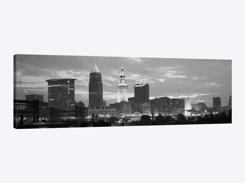 Cleveland Panoramic Skyline Cityscape Black Ranking TOP11 Dusk OFFicial - White Fram