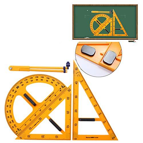 GNSDA 4-delige wiskundige magnetische geometrie gereedschap, premium kwaliteit trekker voor onderwijs, kunststof duidelijke liniaal sets, trekker, kompassen, liniaal driehoeken, voor leraar