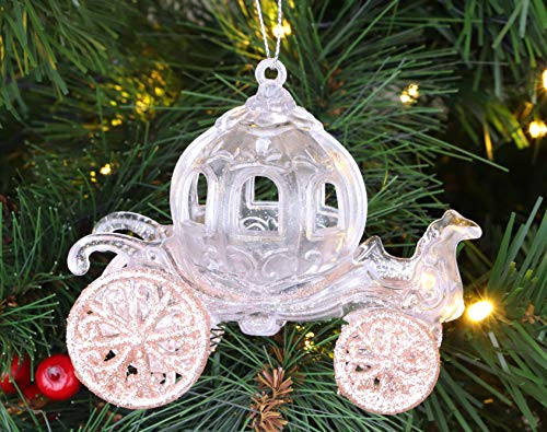 Christmas Concepts® 10cm Brillo Decorado Princesa Carruaje Decoración (Oro Rosa, 1)