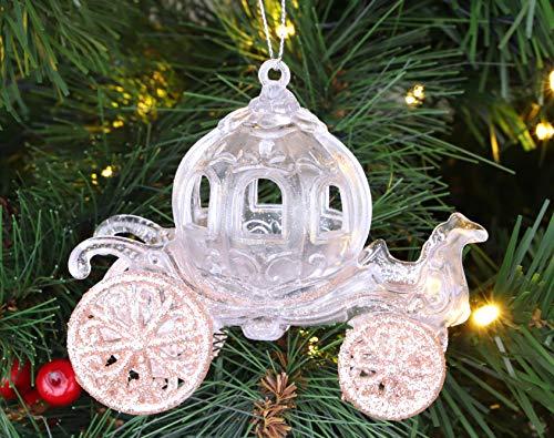 Christmas Concepts Decorazione per Carrozza Principessa Decorata con Glitter da 10 cm (Oro Rosa, 1)
