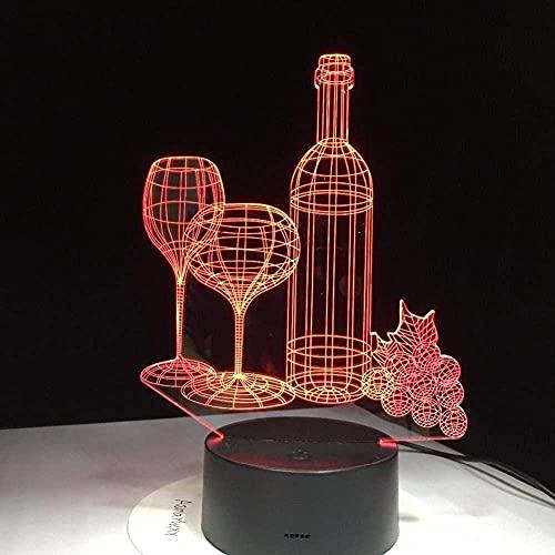 Luz de noche botella de copa de vino luz 3D led7 colorido acrílico amigos luminosos regalo de cumpleaños luz para dormir dormitorio mesita de noche decoración barco