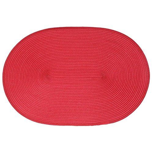 B&W Cuisine Set de Table tressé Ovale - 44 x 29 cm - Rouge