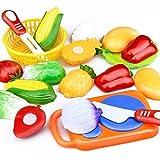 BSGP 12-teiliges Set für Kinder, Küchenspielzeug, Kunststoff, Obst, Gemüse, Essen, Spielen, frühe Lernspielzeuge