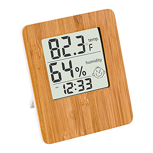 Humidity Sensor Hygrometer Indoor Thermometer - Gauge Clock Decorative Bamboo Digital Hygrometer with Large LCD Display for Bed Room Living Room and Office,Ideal for Gift