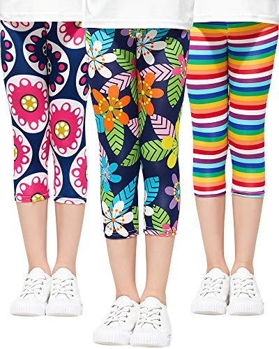 Adorel Mädchen Leggings 3/4 Capri-Hosen 3er-Pack Regenbogen & Blätter & Tropen 122 (Herstellergröße 130)