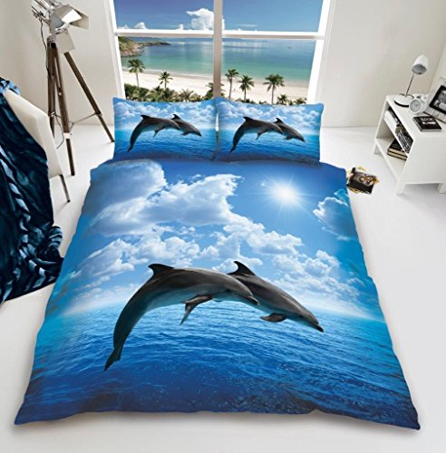 GC New 3D Animal Designs Luxurious Duvet Cover Sets Quilt Cover Sets Reversible Bedding Sets with Matching Pillowcases (3D Dolphin, Double)