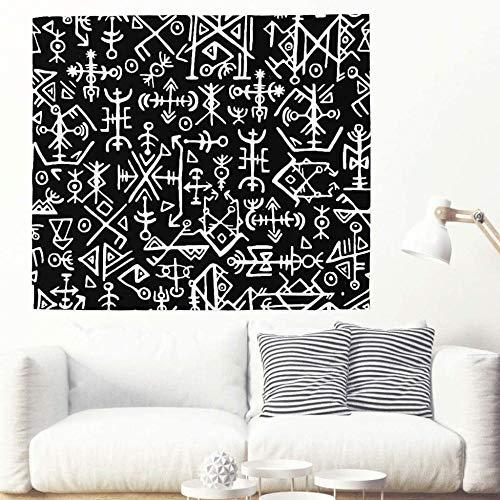 Black White Nordic Islandic Viking Runes Tapestry Ethnic Celtic Nordic Mythology Wall Hanging Tapestry Magical Icelandic Wall Covering Wall Decor-150x150cm_White