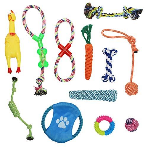 TOKINCEN Hundespielzeug, 12 Pcs Seil Ball Hunde Kauen Spielzeug Set Für Kleine große mittelgroßen Hund Interaktives Spielset Unzerstoerbar Baumwollknoten Tau Tier