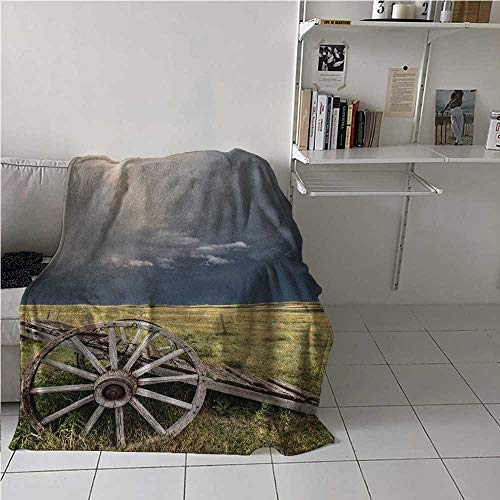 Soft Blanket Throw Barn Wood Wagon Wheel Lightweight Super Soft Cloudy Day in Village Farm Aged Vintage Cart Outdoors Best Gift for Women, Men, Kid, Teen Umber Green Dark Blue 54x72 Inch