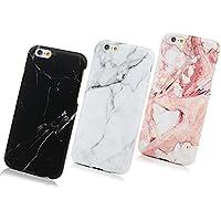 SUPWALL 3 Unidades Funda Silicona iPhone 6 / 6s, Cascara Ultrafina Suave Cover Protectora Mármol, iPhone 6s Case Anti-Rasguño y Resistente Huellas (Gris + Negro + Rosa)