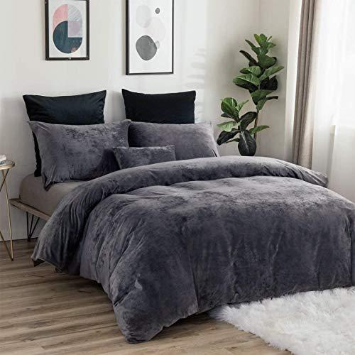 RUIKASI Warm Fuzzy Velvet Duvet Covers Set King Size Grey, 3 PCS Plain Cuddly Fleece Bedding Set for Winter, Easy Care Duvet Quilt Cover 200x200 cm with 2 Pillowcases 50 x 75