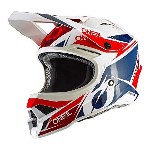 O'NEAL | Motocross-Helm | MX Enduro Motorrad | ABS-Schale, erfüllt Sicherheitsnorm ECE 22.05, Airflaps™ kompatibel | 3SRS Helmet Stardust | Erwachsene | Weiß Blau Rot | Größe M