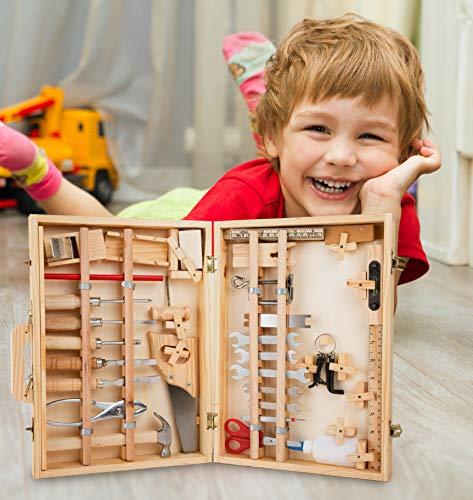 """Werkzeugkoffer """"Deluxe"""" aus Holz, mit 48 Teilen für kleine Heimwerker ab 8 Jahren, das passende Werkzeug für die notwendige Reparatur - 5"""
