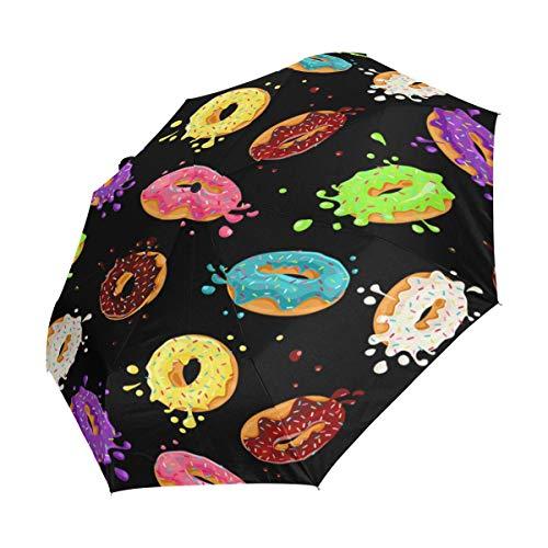 XiangHeFu Paraplu Kleurrijke Donuts Chocolade Auto Open Sluit 3 Vouwen Lichtgewicht Anti-UV