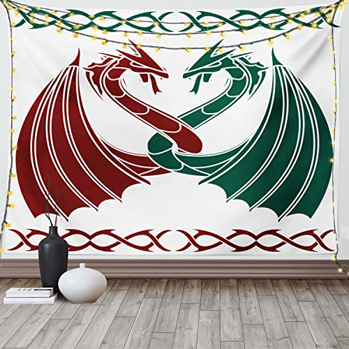 Lunarable Celtic Tapestry Queen Size, Dragons Theme Design Mythical Early Medieval Scandinavian Celtic Castle Knights Print, Wall Hanging Bedspread Bed Cover Wall Decor, 88' X 88', Green Red