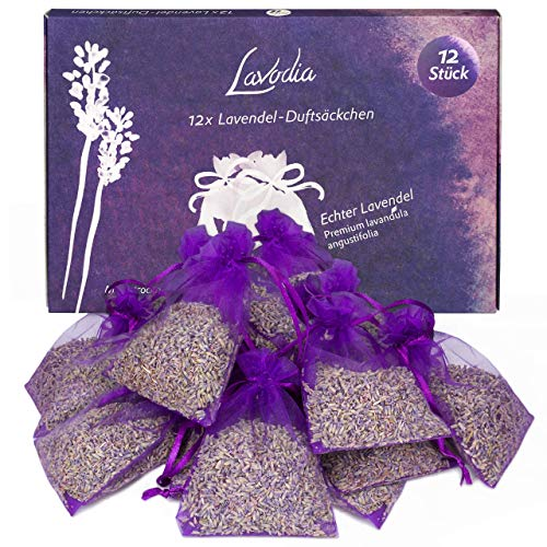 12x Lavendel Duftsäckchen: 12 Lavendelsäckchen für Kleiderschrank, Bett, Garderobe - Lavendel getrocknet als Lufterfrischer Wohnung oder Duftsäckchen Kleiderschrank - 12x 6g Duft Säckchen für Schrank