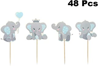 Finduat 48 Pieces Blue Elephant Cupcake Toppers for Boy Baby Shower Decorations Supplies, Baby Boy Birthday Party Supplies...