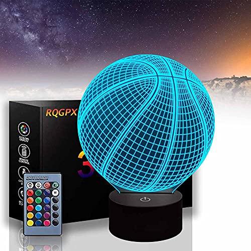 Baloncesto 3D ilusión noche luz táctil interruptor 7 cambio de color USB alimentación LED lámpara de escritorio para decoraciones del hogar para regalos de vacaciones