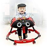 Olz Trotteur, avec roulettes Multi-Fonctions Enfant Anti-Rollover Baby One-Touch Pliant Apprendre à Conduire Vitesse réglable Activité 3Rd Trotteur,Rouge