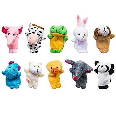 Super Z Outlet Velvet Cute Animal Style Finger Puppets for Children, Shows, Playtime, Schools - 10 Animals Set by Super Z Outlet