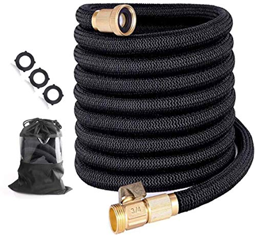 Garden Hose 25 ft Expandable garden hose with Triple Layer Latex Core, 3/4' Solid Brass Fittings, 3750D Extra Strength Fabric For All Your Watering Need