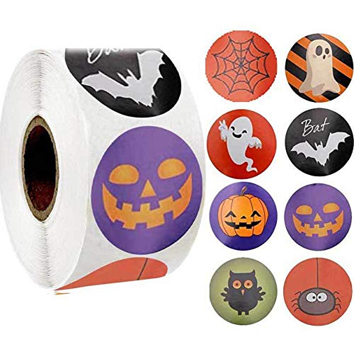 500 Pcs/roll 1 inch Halloween Round Roll Stickers Pumpkin Ghost Bat Sticker Halloween Decorative Stationery Sticker Festival Candy Bag Stickers
