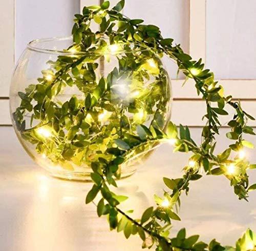 Solar Lantern Green Leaf Simulation LED Light String Garland Solar Copper Wire Decorative Rattan 20m 200 Light A