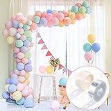 Pastel Party Globos 100 Piezas Pastel Latex Globos With15M Globos Chain, 100 Glue Dots Pastel Globos Kits para boda,para Graduaciones, Fiestas, cumpleaños, día de San Valentín, Decoraciones