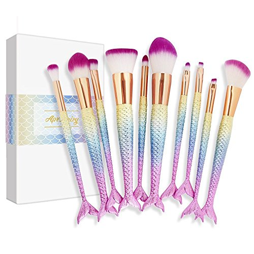 Mermaid Makeup Brushes Set Apr.Fairy 10pcs Gift-packing Ultra-soft Bristles Make Up Brush Kit Face Foundation Blush Concealer Beauty Tools - Pink Gradient