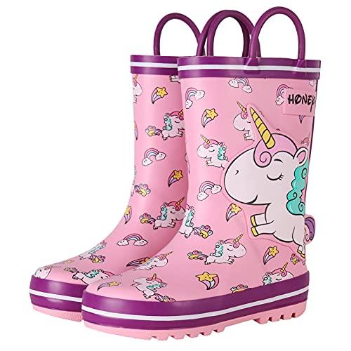 Zeraty Botas de lluvia para niños, zapatos de lluvia impermeables de goma lindos animales impresos con asas fáciles de poner, Rosa/Rebel Fun., 15 MX Niño