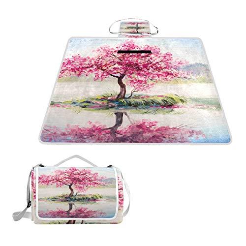 LZXO Jumbo-Picknickdecke, faltbar, Aquarell, Kirschblüte, groß, 145 x 150 cm, wasserdicht, handliche Matte, kompakt, Outdoor-Matte mit Griff für Outdoor-Reisen, Camping, Wandern.