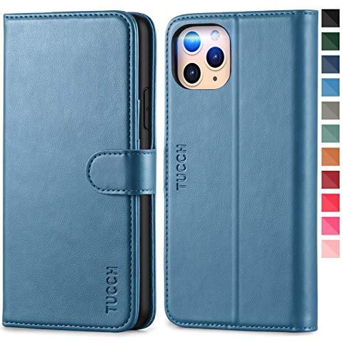 TUCCH Funda iPhone 11 Pro MAX, Funda Libro Protectora con Despertar/Dormir Automático, Bloqueo RFID, Carcasa TPU, Cierre Magnético, Funda de Cuero PU para iPhone 11 Pro MAX (6.5\'\'), Azul Claro