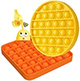 Anti Stress Pop It Fidget Toy, Push Pop Bubble Sensory Fidget Toy, Silicone Squeeze Sensory Toy for Kids and Adults - Stress Relievers Gadget for Office (Orange+Yellow)