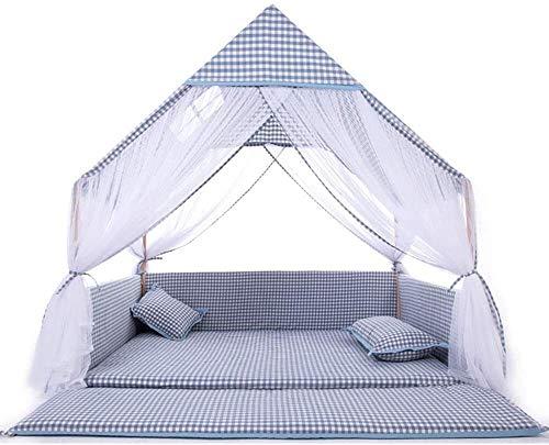 HIZLJJ Indoor Outdoor Boy Toy House Blau Plaid Kleines Haus Kreatives Design Kinder Zelte Indoor-Kind-Zelt-Kinder-Spiel-Zelt Kinderspielzelt - mit Bodenmatte (Color : Blue, Size : 137 * 150 * 150cm)
