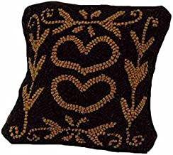 Home Collection by Raghu Colonial Heart Pillow, 14 by 14, Black and Mustard