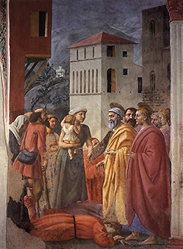 """Masaccio The Distribution of Arms and Death of Ananias Brancacci Chapel 1424-1425 Santa Maria del Carmine Florence 24"""" x 18"""" Fine Art Giclee Canvas Print (Unframed) Reproduction"""