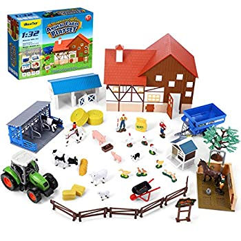 iBaseToy Animal Farm Playset 44PCS Farm Animal Toys Set with Farm Animals Figures Toy Barn House Horse Stable and Tractor Toy Learning Toys for Kids Toddlers Boys Girls 1 32 Scale