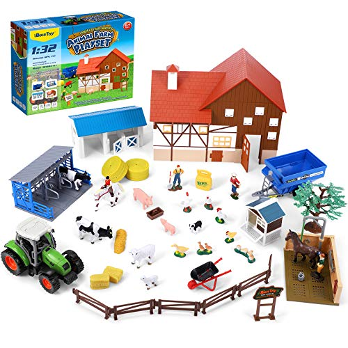 iBaseToy Animal Farm Playset, 44PCS Farm Animal Toys Set with Farm Animals Figures, Toy Barn House, Horse Stable and Tractor Toy, Learning Toys for Kids Toddlers Boys Girls, 1:32 Scale