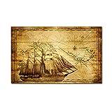 Cuadro sobre Lienzo Cuadro Lienzo Barco Vela Antiguo Línea Náutica Arte Pared para Hogar Póster Mapa Velero Vintage Imágenes Decoración para Sala Estar