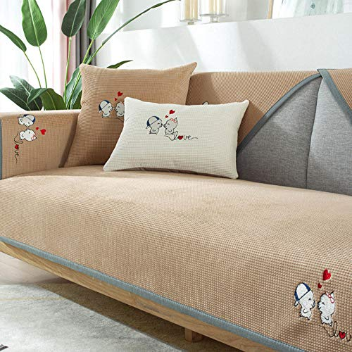 Suuki Furniture Sofa Cover for L shape sofa/Corner couch,Plush sofa saver protector,cute sofa covers,fabric Couch Slipcover,2/3/4 seater leather couch cover,bench seat cushion covers-camel_110*210cm