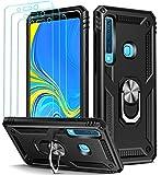 ivoler Funda para Samsung Galaxy A9 2018 + [Cristal Vidrio Templado Protector de Pantalla *3], Anti-Choque Carcasa con 360 Grados Anillo iman Soporte, Hard Silicona TPU Caso - Negro