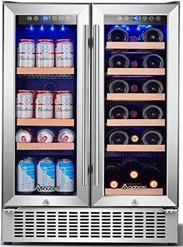 Aobosi 24 Inch Beverage and Wine Cooler Dual Zone 2 IN 1 Wine Beverage Refrigerator with Independent product image