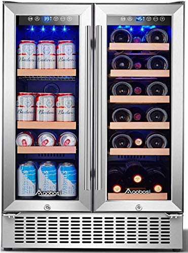Aobosi 24 Inch Beverage and Wine Cooler Dual Zone, 2-IN-1 Wine Beverage Refrigerator with Independent Temperature…