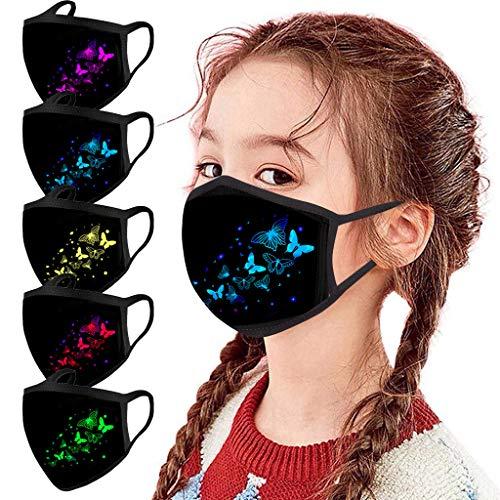 Modelife 5 Stück Kinder Mundschutz mit Motiv Multifunktionstuch Schmetterling Print Maske Waschbar Wiederverwendbar Stoffmaske Baumwolle Mund-Nasen Bedeckung Atmungsaktiv Halstuch Schals (M)