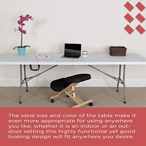EventStable TitanPRO Plastic Bi-Folding Table - Lightweight Folding Table - Outdoor Table for Camping Party Dining with Carrying Handle - 8' x 30''