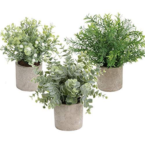 Cekene - Juego de 3 pequeñas plantas artificiales en macetas, diseño de eucalipto de plástico sintético en macetas de 24 cm para casa, oficina, casa de campo, baño, cocina, interior y exterior