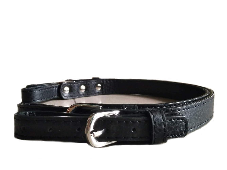 HinLot 2pcs Set Bag Handle Straps Adjustable PU Leather Straps for Purse Handbags with Silver Hardware (Black)