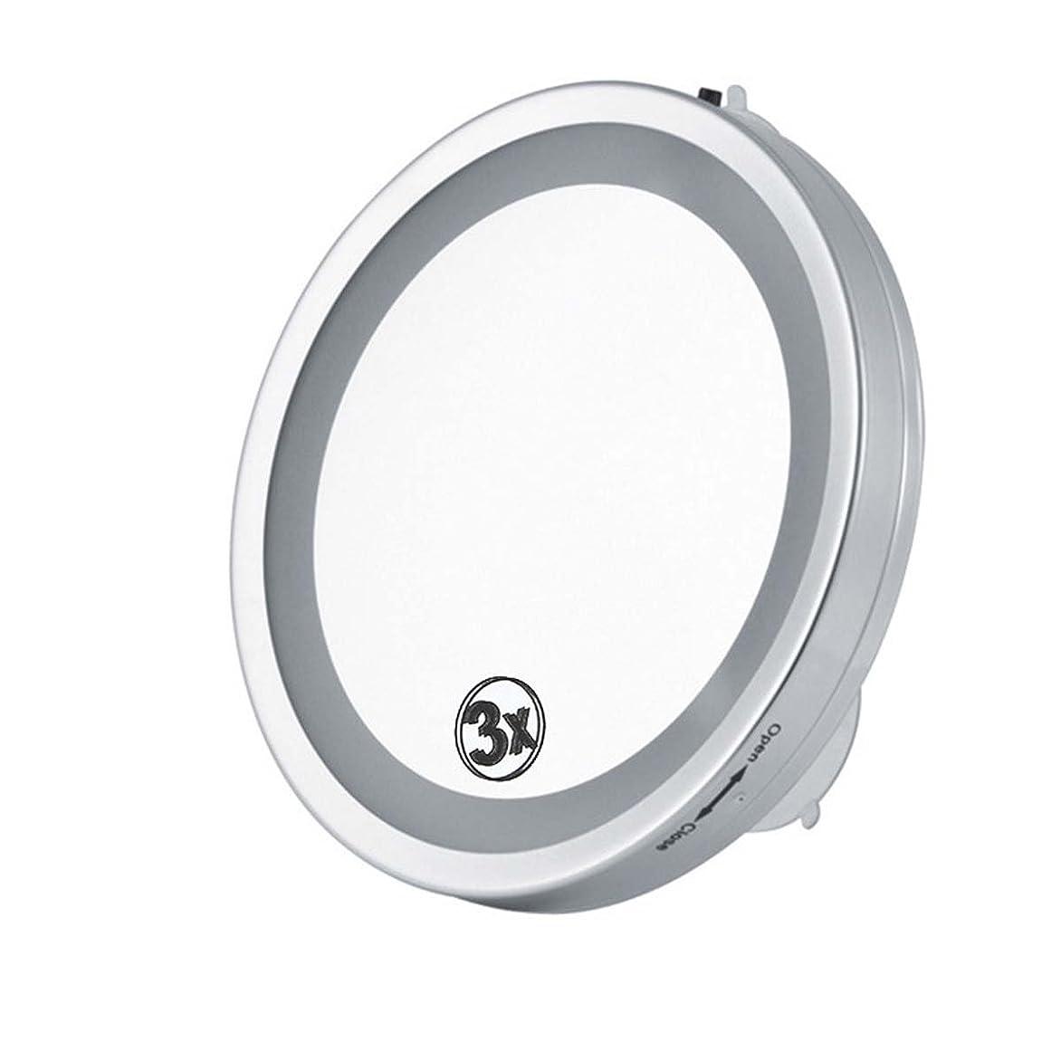 質量処分した堀ランプ付き6インチ壁掛け化粧鏡、片面吸盤デザイン、3倍の防水防水と防錆、ワンタッチプッシュスイッチ