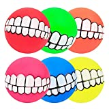 Stock Show 6Pcs/Pack 3' Funny Pet Dogs Teeth Pattern Balls Chew Toy Squeaker Squeaky Sound Bite Resistant Dogs Training Toys, Color Random